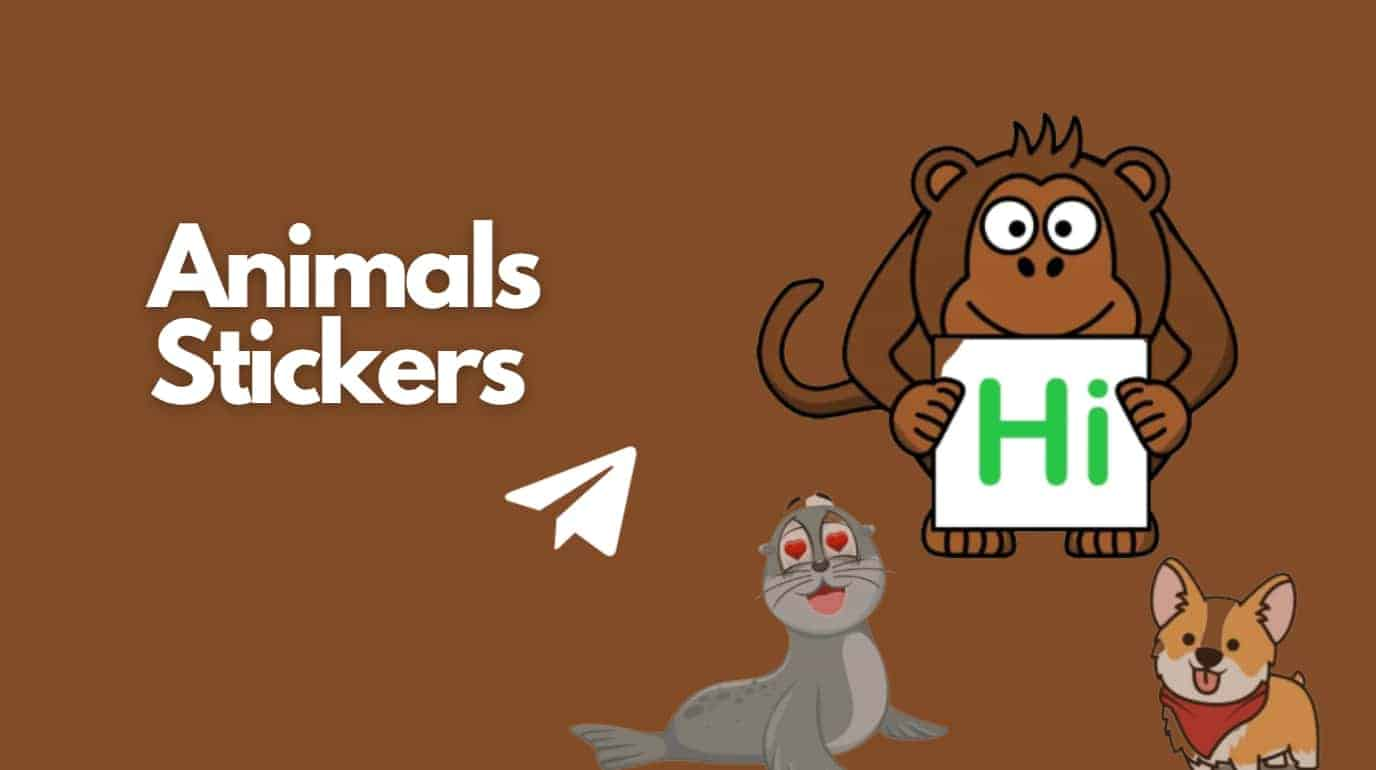 Animal Crossing Telegram Stickers tag and three animals stickers one monkey and one dog