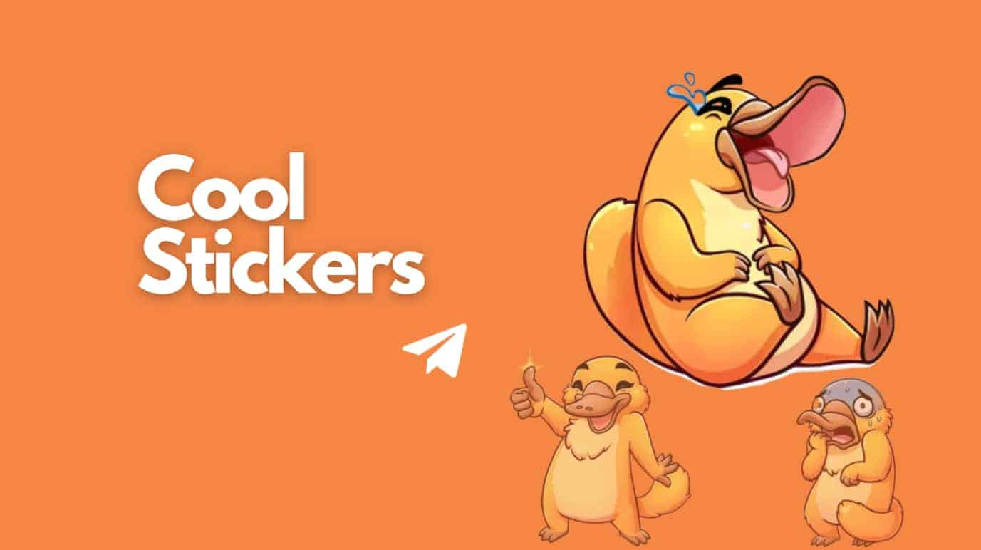 Cool telegram stickers tag and right hand side three cool duck stickers