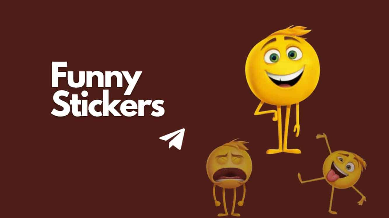 Funny Telegram Stickers tag and three funny emoji placed on right hand side