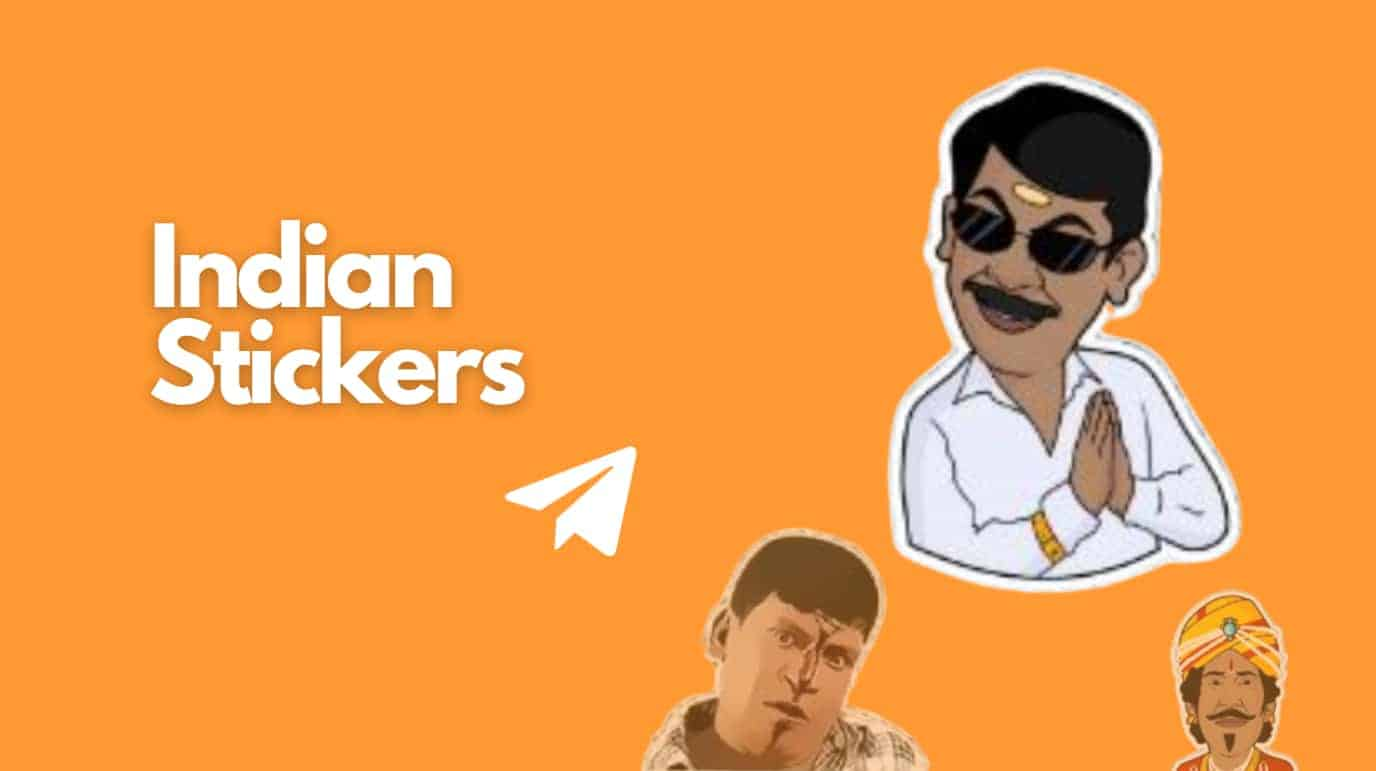 Indian telegram stickers tag and right hand side three indian character stickers icons