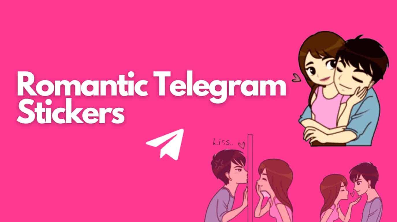 romantic telegram stickers title and three romantic couple stickers